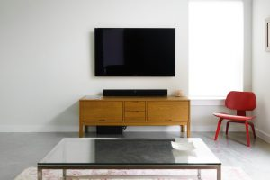 tv mounted in the room